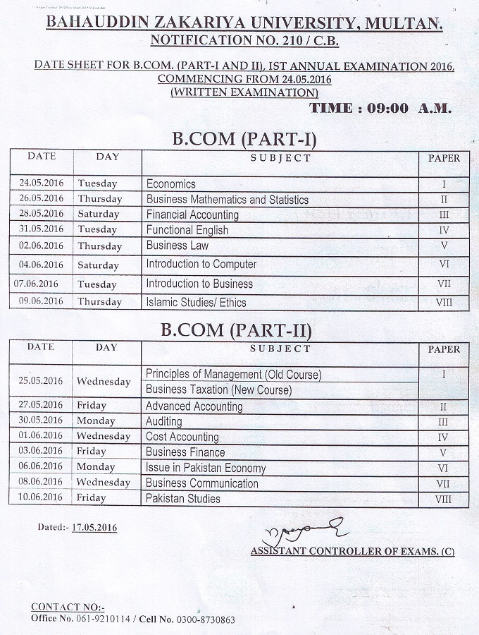 Date Sheet for B.Com. (Part-I & II) 1st Annual Examination 2016