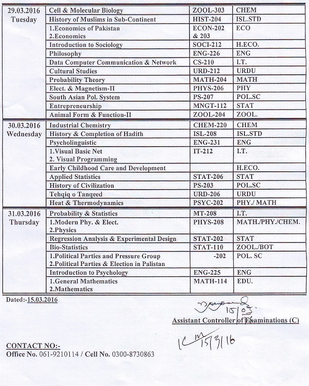 Date Sheet for BS-4 Year Final Term Examination, 4th Semester, Session 2013-17